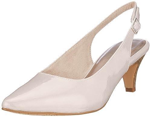 22445, Zapatos de Tacón para Mujer, Gris (Pearl Patent), 42 EU Tamaris