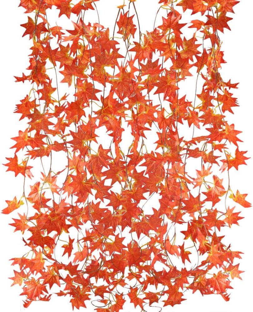 MIHOUNION 5Pcs Enredadera Artificiales Guirnalda de Flores Artificiales Colgantes Guirnalda Follaje Artificial Hojas de Arce Plantas Artificiales para Exteriores e Interiores Balcón Jardín Rojo 2,5m