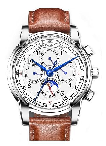 Carnaval automática mecánica reloj hombre fase de la luna Suiza relojes correa de piel resistente al agua reloj: Carnival: Amazon.es: Relojes