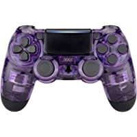 eXtremeRate Transparent Crystal Clear Purple Front Housing Shell Faceplate Cover for PS4 Slim PS4 Pro Controller (CUH…