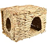 Small Pet Animal Grass Bed, Hamster Hand-Woven Foldable Grass Cage Small Animals Bed Hamster Playing Sleeping House