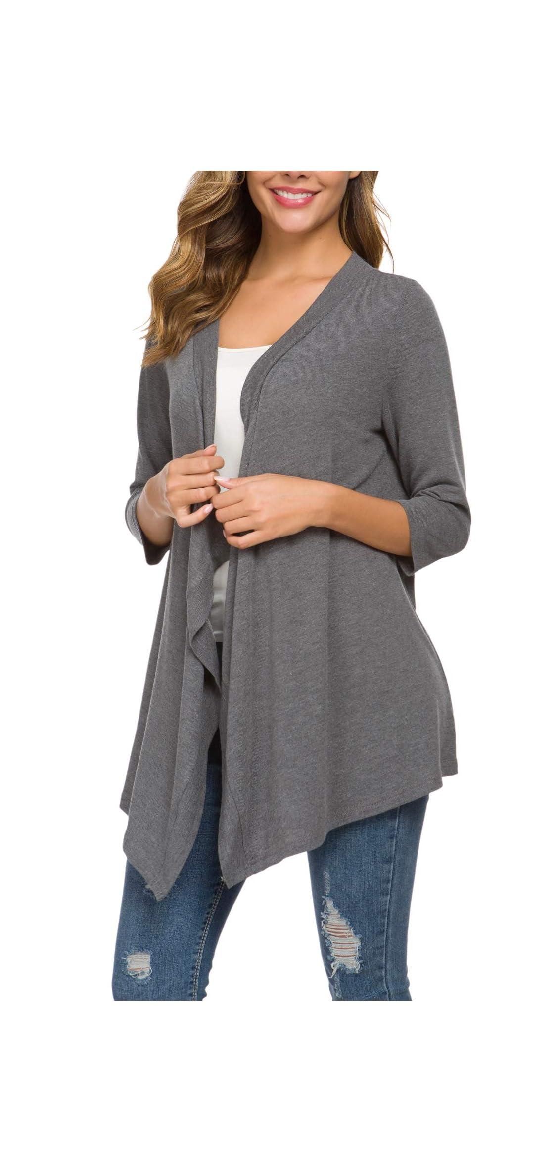 Women / Sleeve Open Front Cardigans Striped Loose Coat
