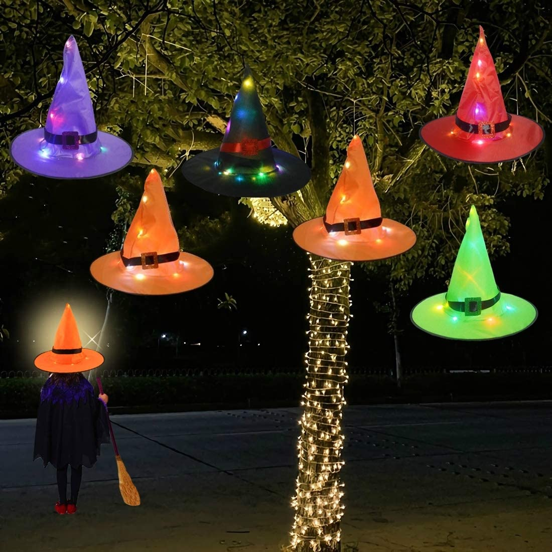 Halloween 2020 Witch With Kid Lawn Decorations Halloween Decorations Witch Hat Outdoor 6Pcs Hanging Lighted