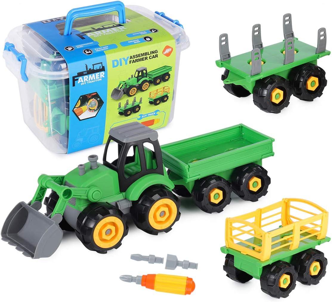 SHANNA Juguetes de Granja para Niños, Juguetes de Granja, Figuras, Animales, Cercas, Tractores y Accesorios para Regalos de Niños (Juguete de Granja 3 in 1)