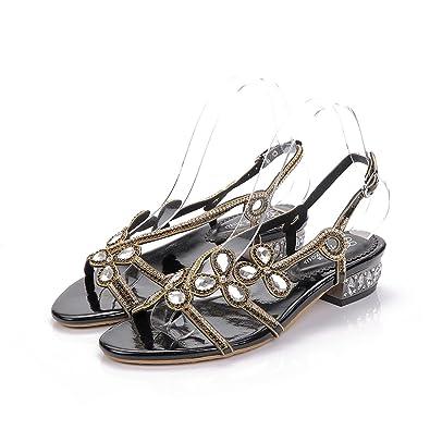 ab10f3c1a4a Unicrystal Women s Low Block Heel Diamante Jewelled Slingback Sandals Shoes  Black 4 ...