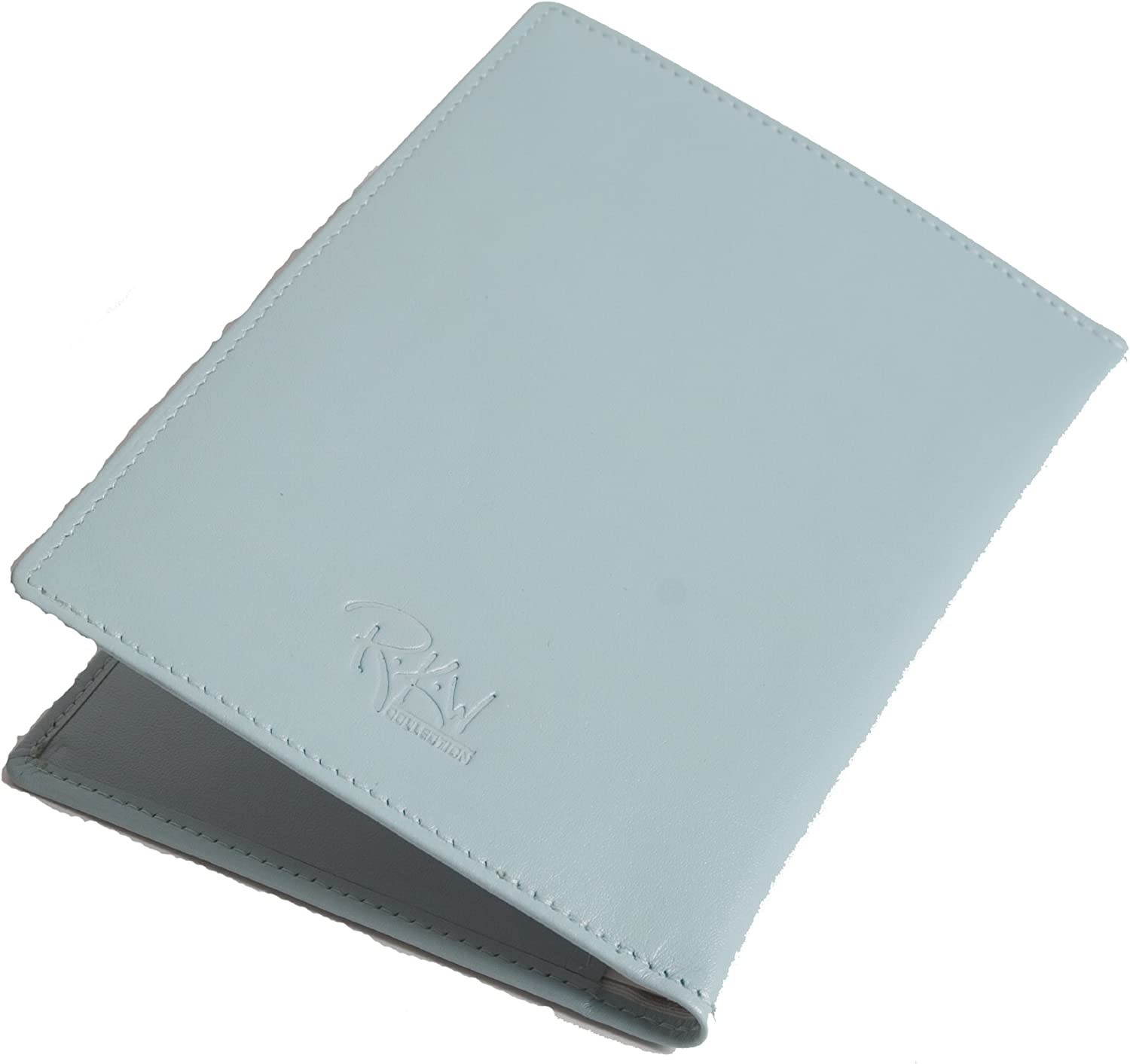 Pale Blue Leather Passport Cover