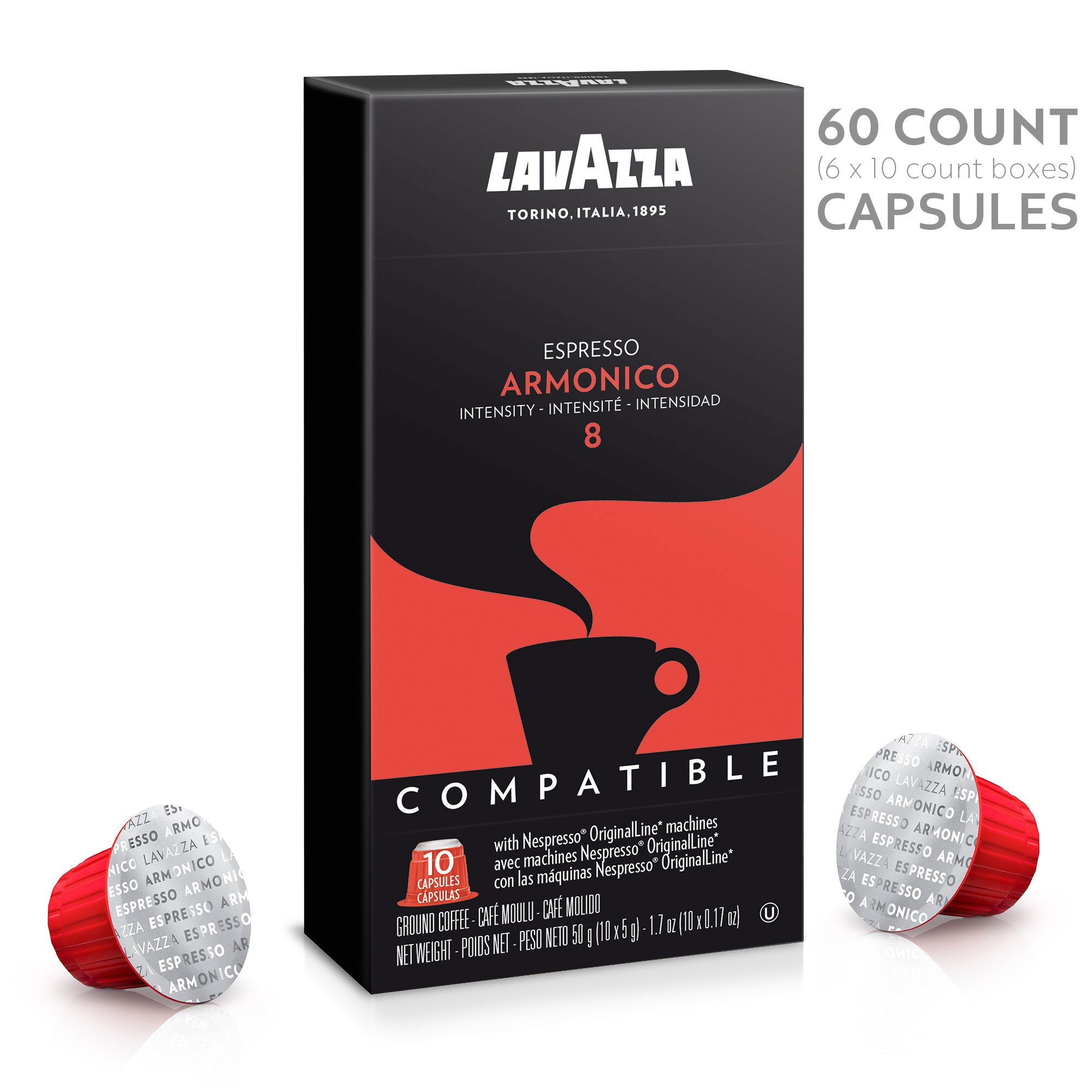 Lavazza Nespresso Compatible Capsules, Armonico Espresso Dark Roast Coffee (Pack of 60)