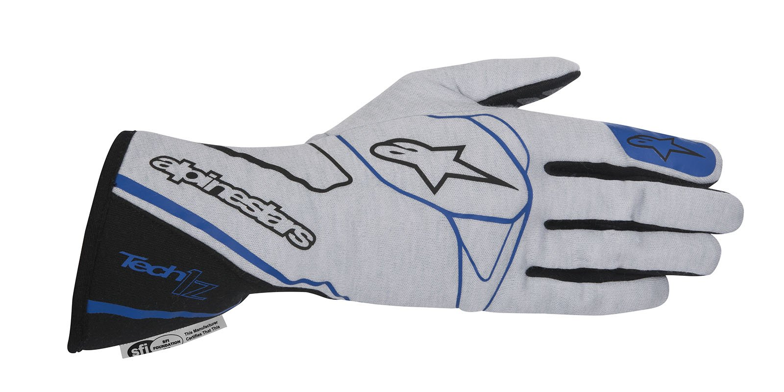 Alpinestars 2017 Tech 1-Z Glove - Size Medium - Silver/Black/Blue - SFI 3.3 LEVEL 5/FIA 8856-2000 (3550217-1091-M)