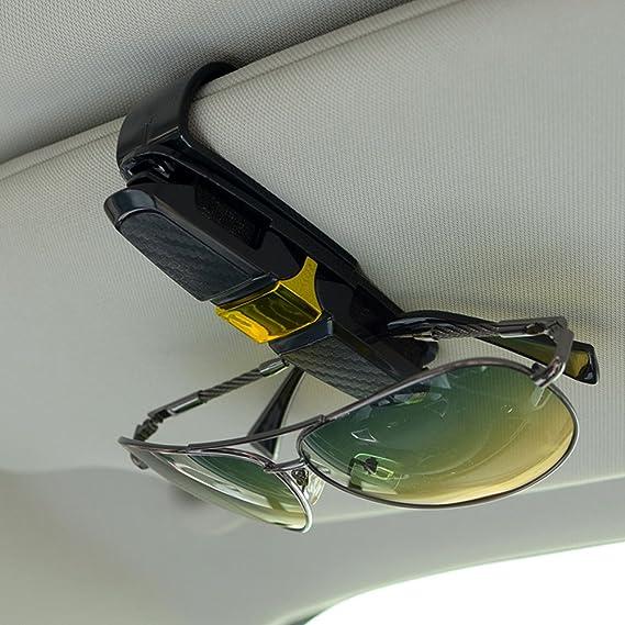 2 Pack Brillenhalter Für Auto Sonnenblende Finegood Sonnenbrillen Brillen Mit Kartenkarten Clip Gold Auto