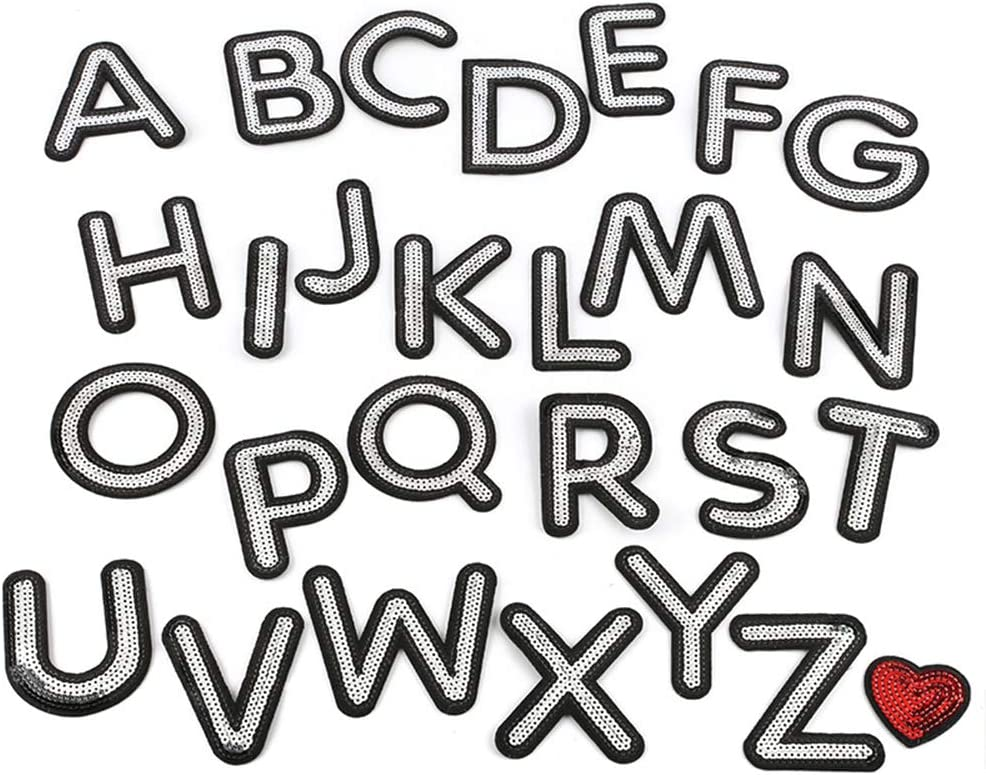 A-Z Sequins Alphabet Red Letters Iron-on Emblem Badge Patch Letter Girl Applique