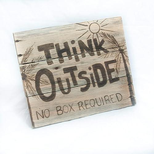 Think Outside no box required Teacher gift – 11 x 13 – Pallet wall hanging – Classroom wall decor – Fun teacher gift – Rustic Beach house decor