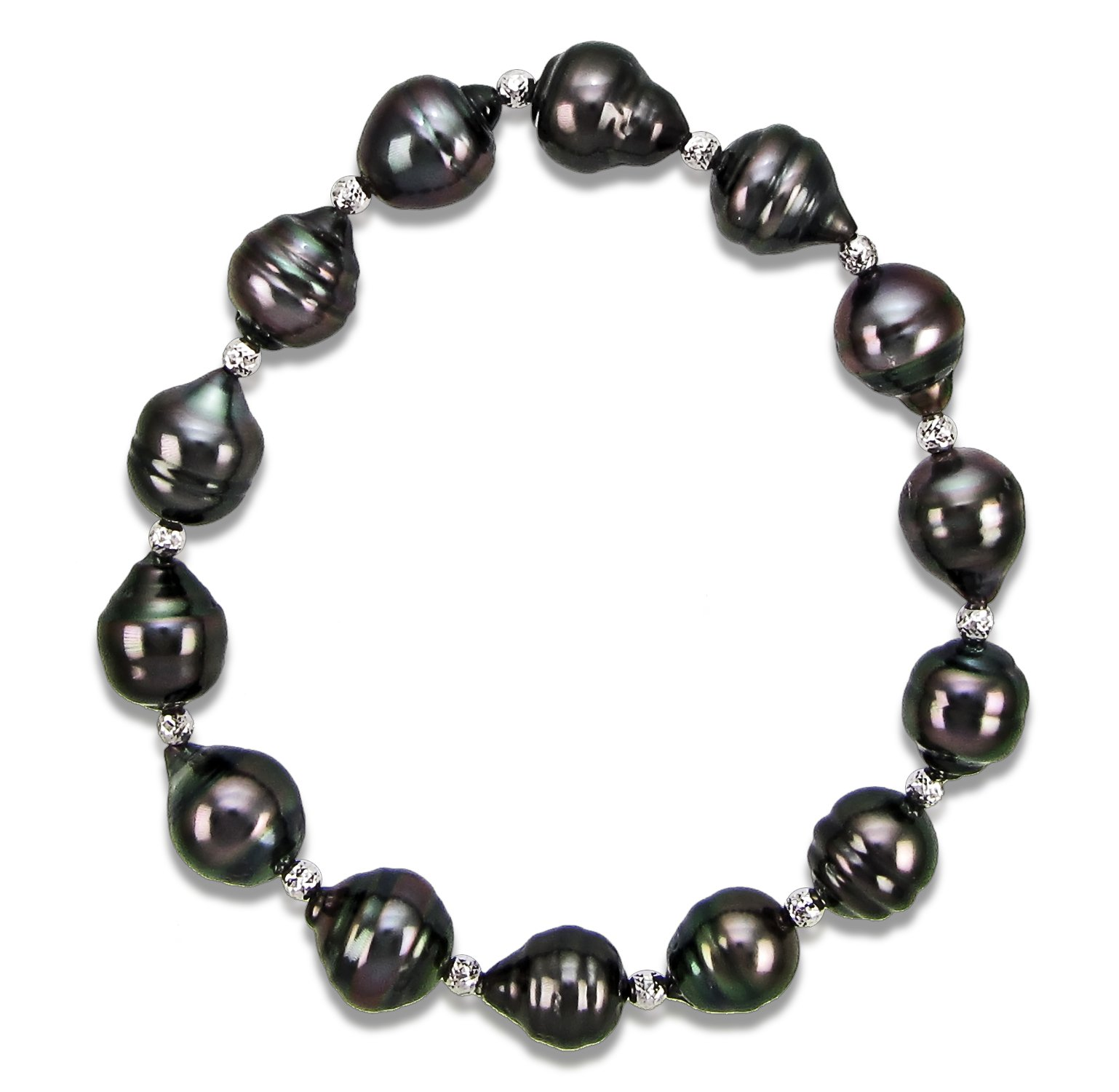 8-10mm Black Off-shape Tahitian Cultured Pearl and Sterling Silver Sparkling Beads Stretch Bracelet, 7.5''