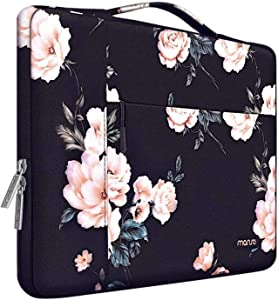 MOSISO Laptop Sleeve Case Compatible with 13-13.3 inch MacBook Air, MacBook Pro, Notebook Computer, Surface Book, Surface Laptop, Polyester Camellia Multifunctional Briefcase Carrying Bag