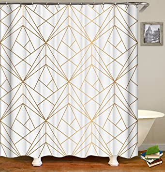 Bailunder Geometric Shower Curtain Golden Triangle Waterproof And Anti Mildew Water Repellent Polyester