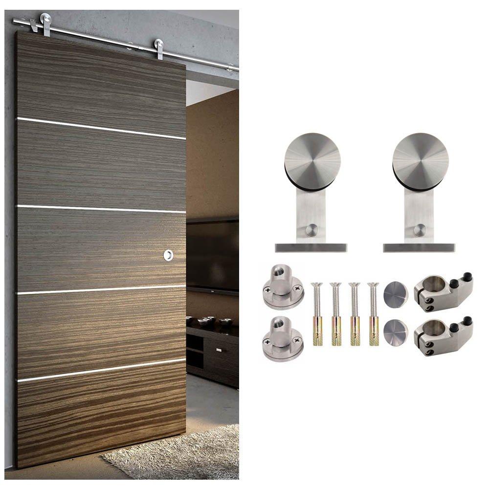Type porte de grange en bois Porte coulissante Hahaemall Cloison Rail en acier inoxydable
