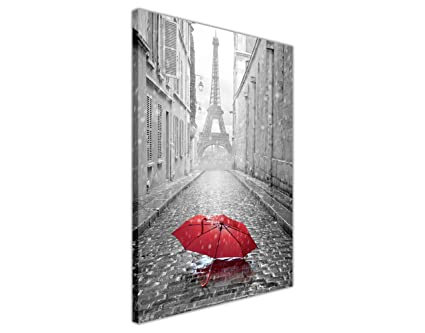 Black and white iconic eiffel tower with red umbrella canvas art wall prints home decoration framed