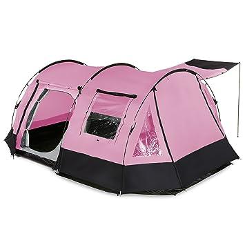 skandika Kambo - 4 personas - tienda de campaña familiar - túnel - mosquiteras - rosa: Amazon.es: Deportes y aire libre