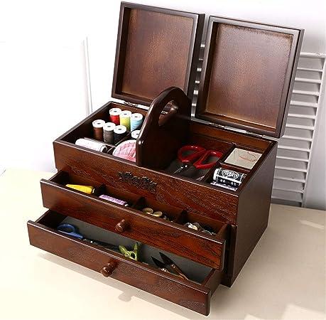 SUWIN Color Antiguo portátil Caja de Costura Grande de Madera de 3 ...