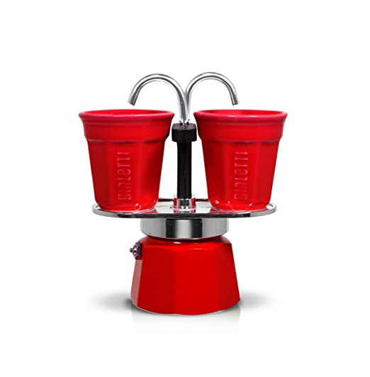 Bialetti Mini Express Set, cafetera de Aluminio 2 Tazas Color Rojo con 2 vasitos para el café Color Rojo