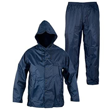 Rainsuit Impermeable Pantalon Chaqueta hombres señoras Capucha Traje lluvia Azul XL