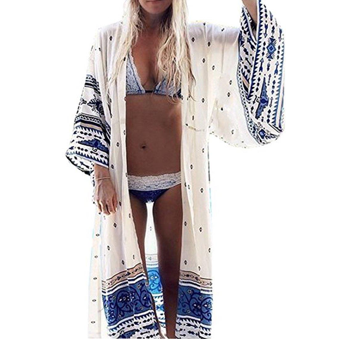 d160b3f5cc Womens Loose Kimono Maxi Cardigan Beach Dress Bikini Cover Up White and  Blue One Size at Amazon Women s Clothing store