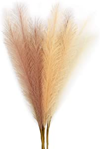 """6 PCS Artificial Pampas Grass,27"""" Faux Reed Plumes Reed Grass Plume for Home Wedding Decor Vase Fillings and Flower Arrangement"""