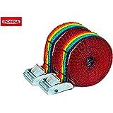 Ponsa 027.048.025.612 - Trinquete hebilla profesionales, Resistencia rotura real 500 kg, 3m, cinta de 25 mm ancho, blister de 2 unidades