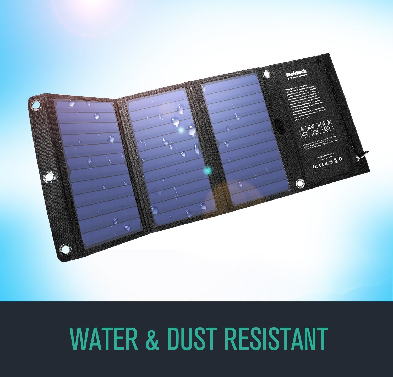 Nekteck 21W Solar Charger with 2-Port USB Charger Build with High Efficiency Solar Panel Cell for iPhone 6s / 6 / Plus, SE, iPad, Galaxy S6/S7/ Edge/Plus, Nexus 5X/6P, Any USB Devices, and More by Nekteck (Image #4)