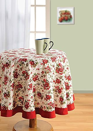 Swayam Libra 4-Seater Cotton Round Table Cover - Red Table Cloths at amazon