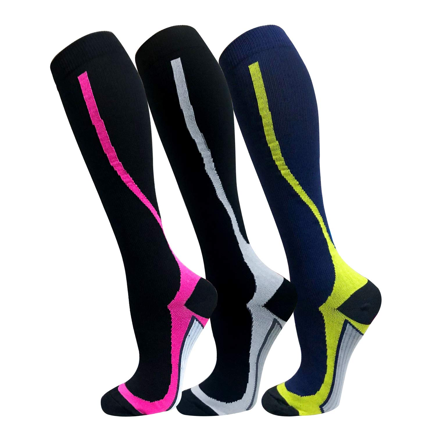Copper Compression Socks For Men & Women(3 Pairs),15-20mmHg is Best For Running,Athletic,Medical,Pregnancy and Travel (S/M, Multicoloured 21)