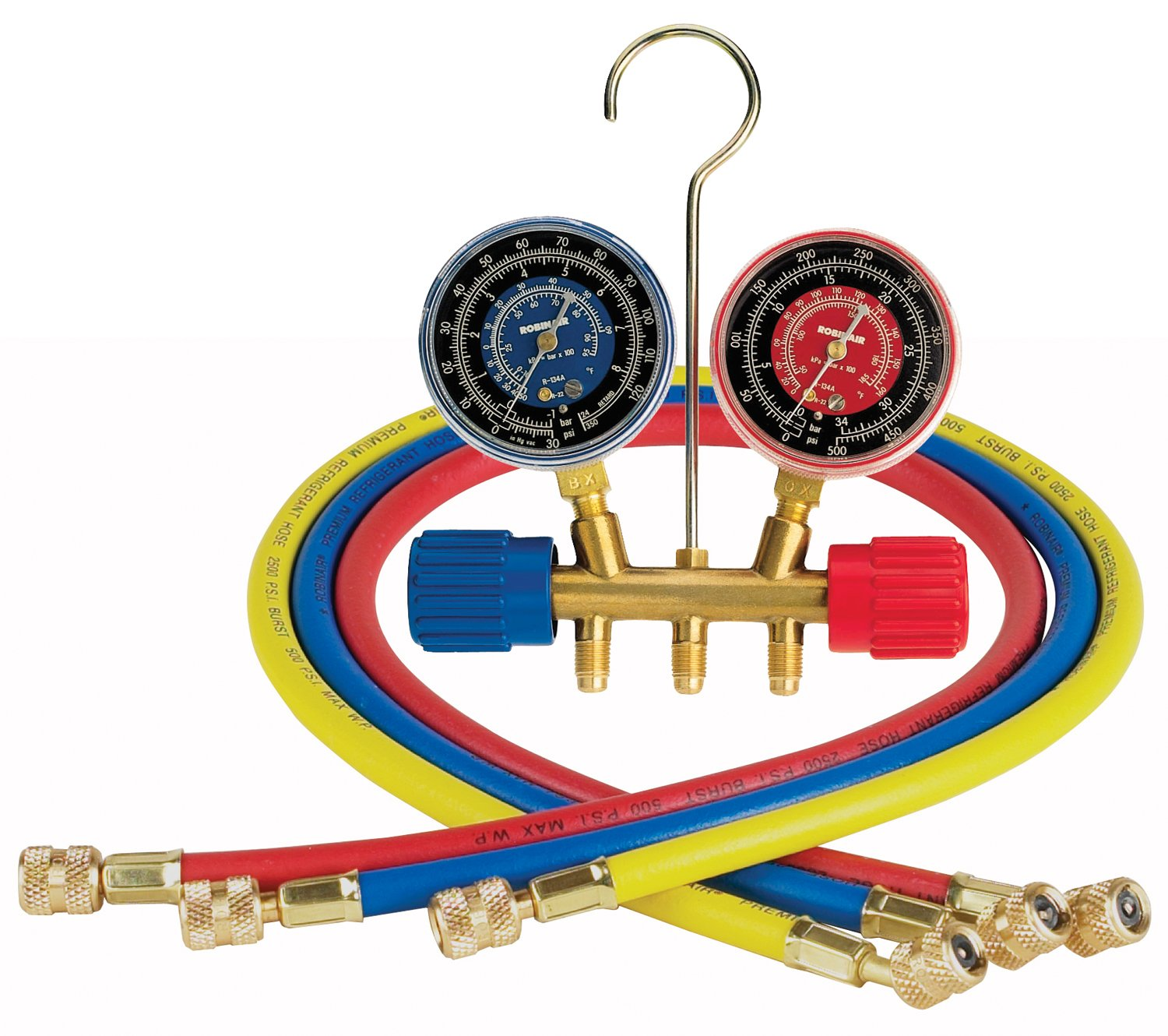 Robinair (40153) Side-Wheel Manifold Gauge with 1/4'' Fittings and 36'' Hose Set