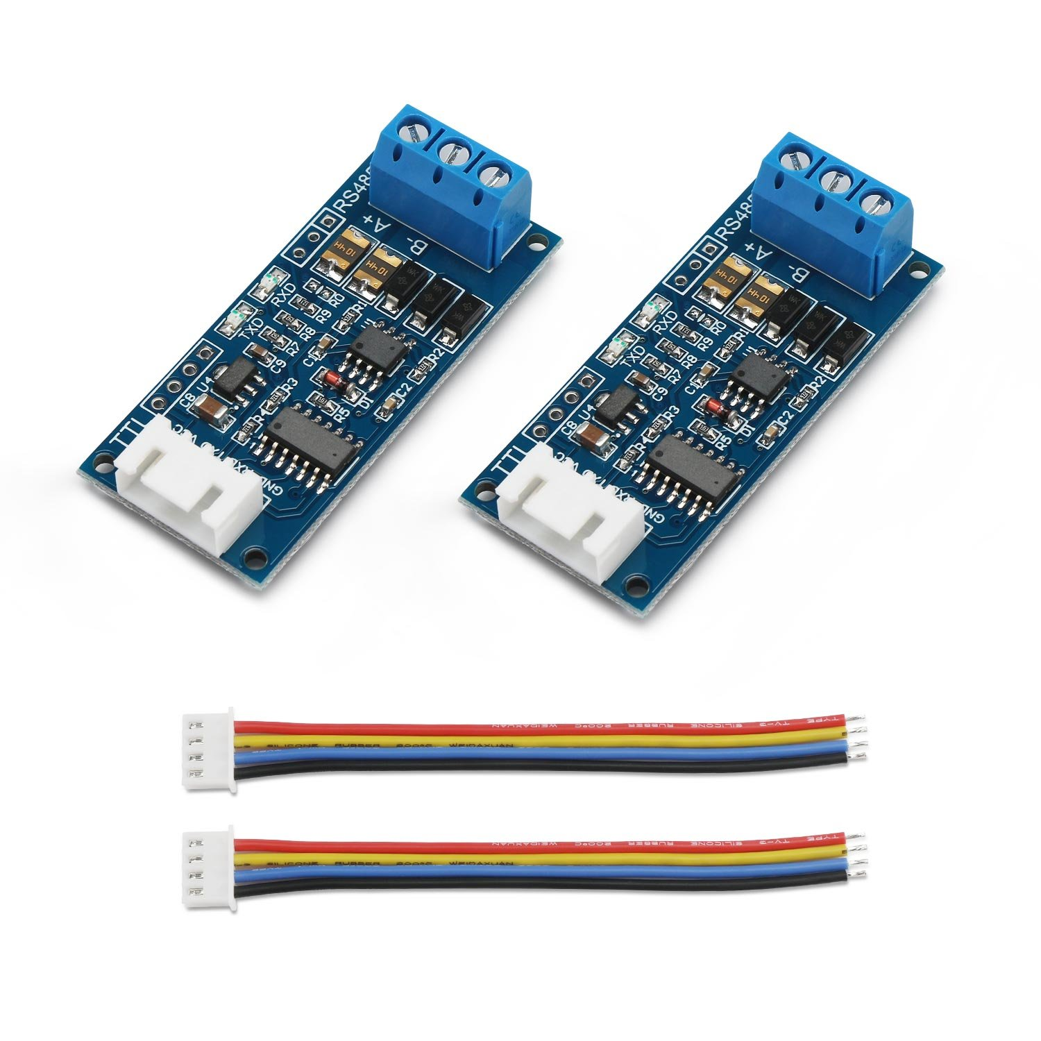 2pcs TTL to RS485 Adapter Module, DROK 485 to TTL Signal Single Chip Serial Port Level Converter 3.3V 5V Board with RXD, TXD Indicator Lights by DROK