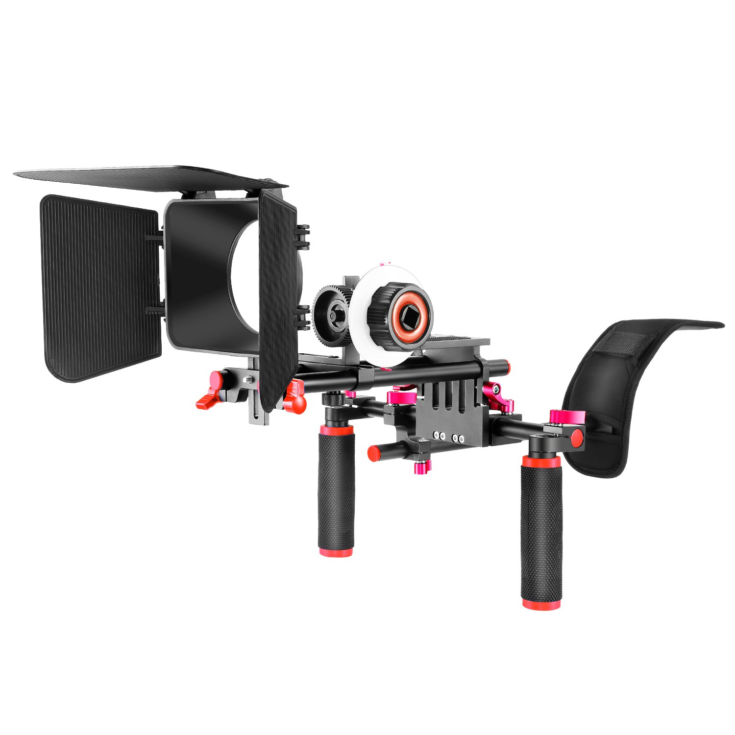 Neewer Film Movie Video Making System Kit for Canon Nikon Sony and Other DSLR Cameras Video Camcorders, Includes: Shoulder Mount, 15mm Rod, Follow Focus, Matte Box (Red)