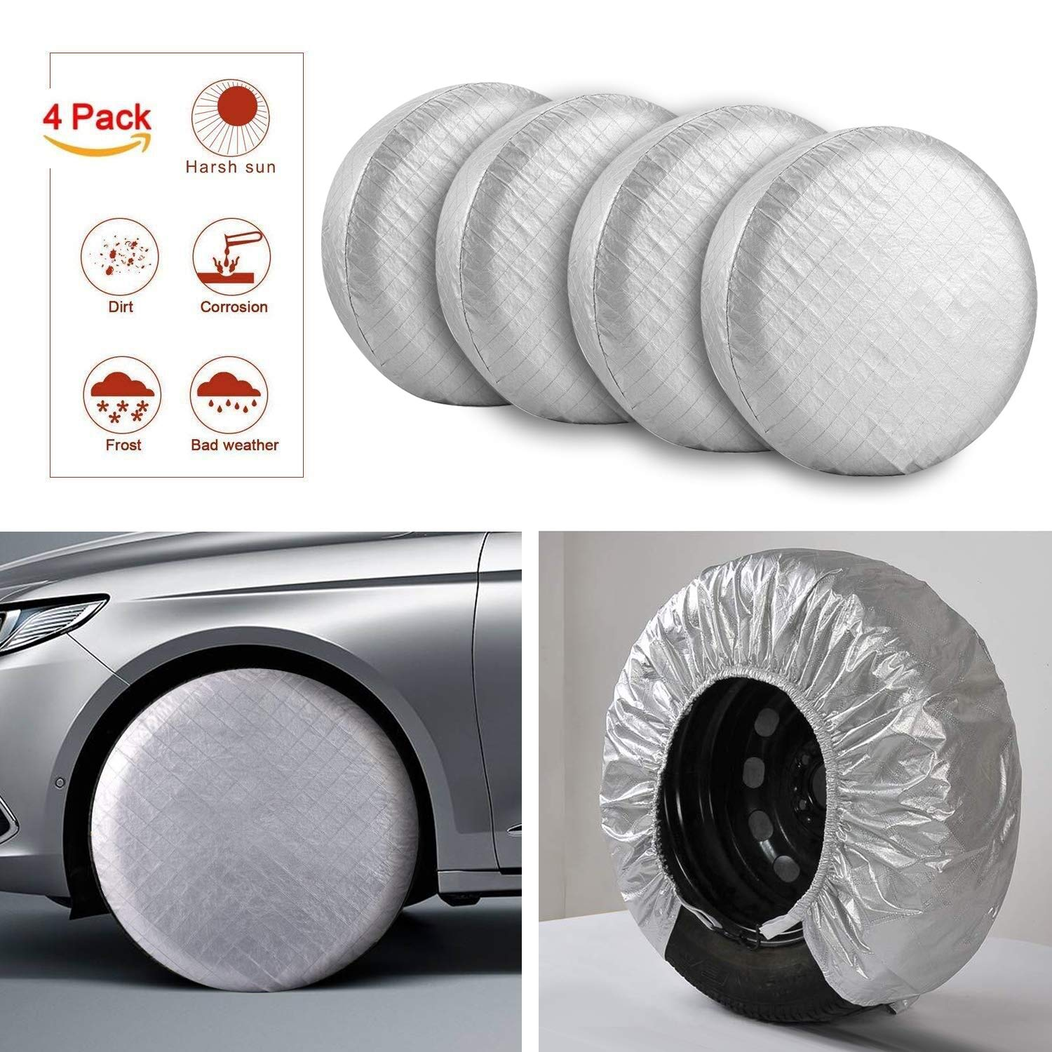 Kohree Set of 4 Tire Covers Waterproof UV Sun RV Trailer Tire Protectors Fits 30 to 32 Truck Camper Van Auto Car Tires Diameters Aluminum Film Cotton Lining Tire Protectors