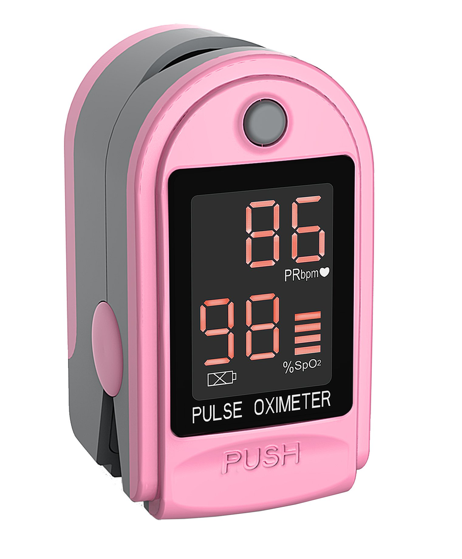 Concord Health Supply EAD Essentials Fingertip Pulse Oximeter Blood Oxygen Saturation SpO2 Monitor, Includes Silicon Cover, Carrying case, Batteries and Lanyard - Pink