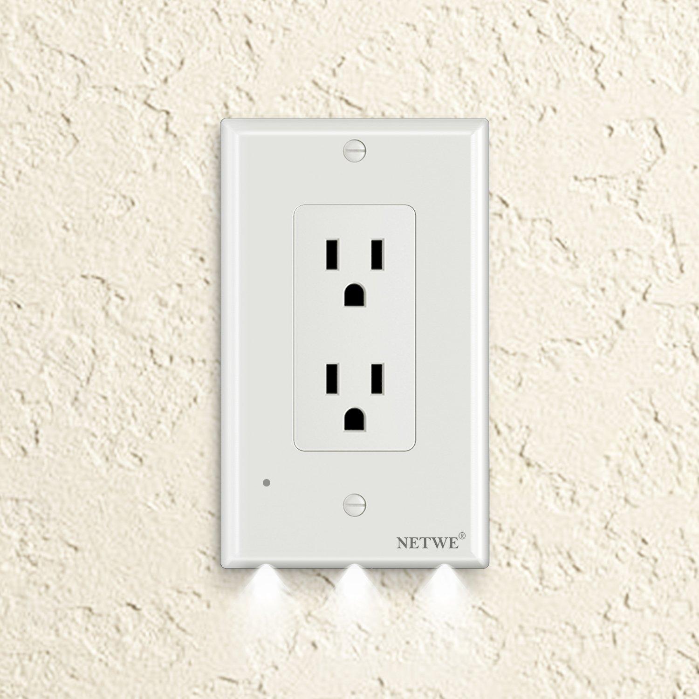 コンセント壁プレートLEDナイトライトまたはUSB充電器ポート – は電池またはワイヤ – 数秒で設置 Décor(Night Light) ホワイト B078SVPNGR 13244  ホワイト Décor(Night Light)