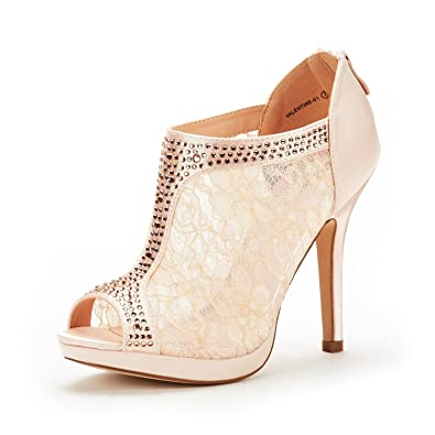 cbebe3e4630 DREAM PAIRS Women s Valentine-01 Champagne Satin Fashion Dress High Heel  Peep Toe Wedding Pumps
