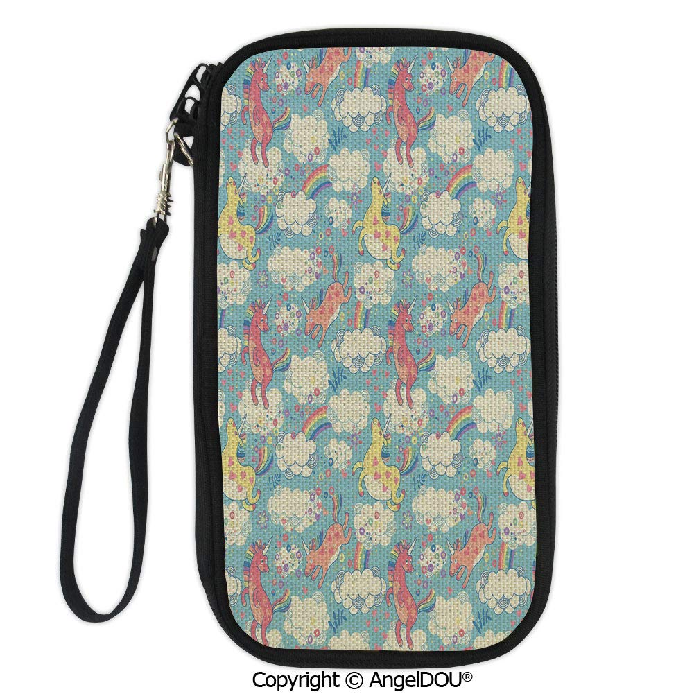PUTIEN Portable diagonal dual-use samll Purse Hand Drawn Image with Oriental Rainbow Colored Floral Swirls Glass Pattern Image for Shopping travel picnic business.