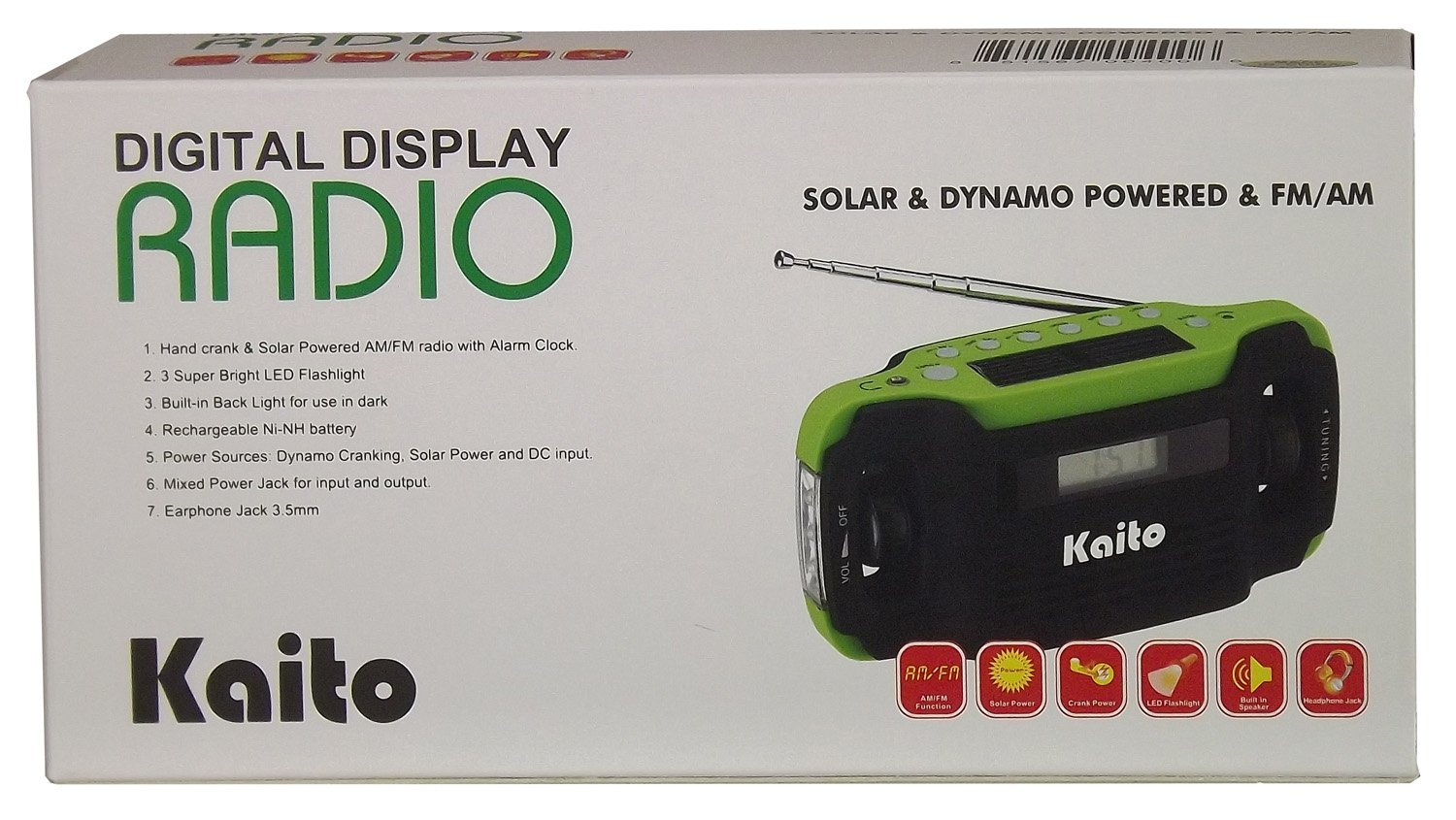 Kaito KA300 Solar/Hand Crank AM/FM Emergency Radio with Digital Alarm Clock, Cell Phone Charger & 3-LED Flashlight