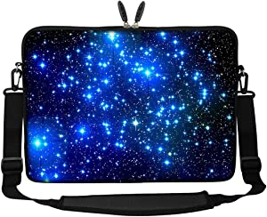 Meffort Inc 14 14.1 Inch Neoprene Laptop Sleeve Bag Carrying Case with Hidden Handle and Adjustable Shoulder Strap (Galaxy Star)