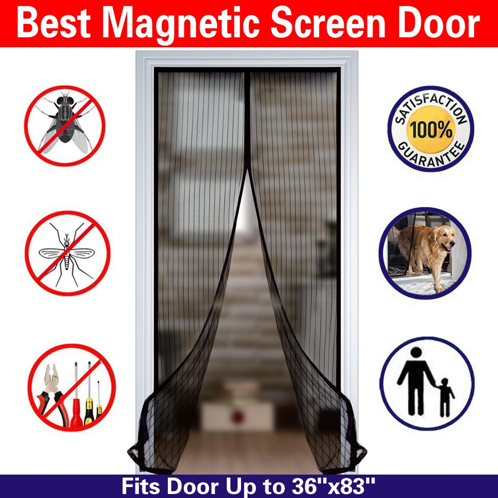 Magnetic Screen Door Mesh Curtain And Full Frame Velcro Fits Doors