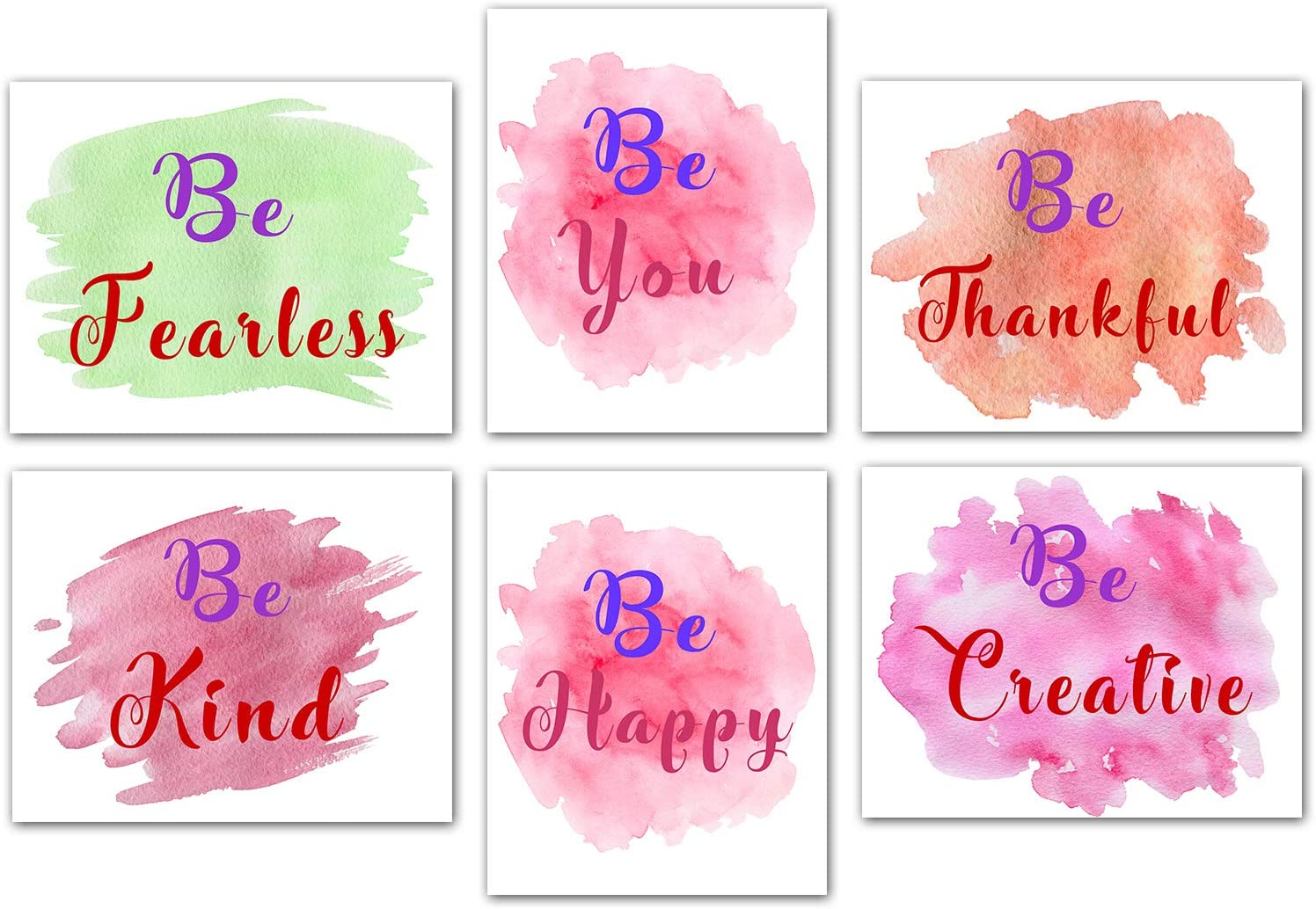 Inspirational Posters Positive Sayings Decor - Watercolor Words Wall Art Print Girl Bedroom Women Bathroom Home Decor Minimalist Printing Inspirational Pictures For Office Set Unframed 8''x10'' Canvas