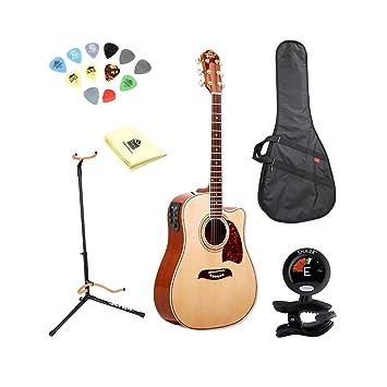 Oscar Schmidt og2ce Natural Dreadnought Guitarra púas de con gamuza de limpieza, incluye bolsa de transporte, sintonizador, y soporte: Amazon.es: ...