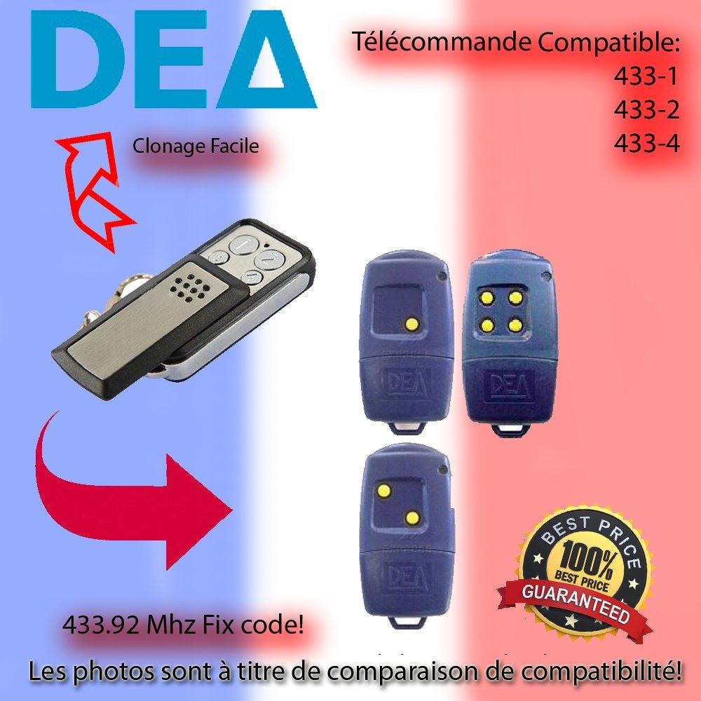 Té lé commande 433.92 MHz Pour DEA 433-1, 433-2, 433-4 Remplacement,Clone