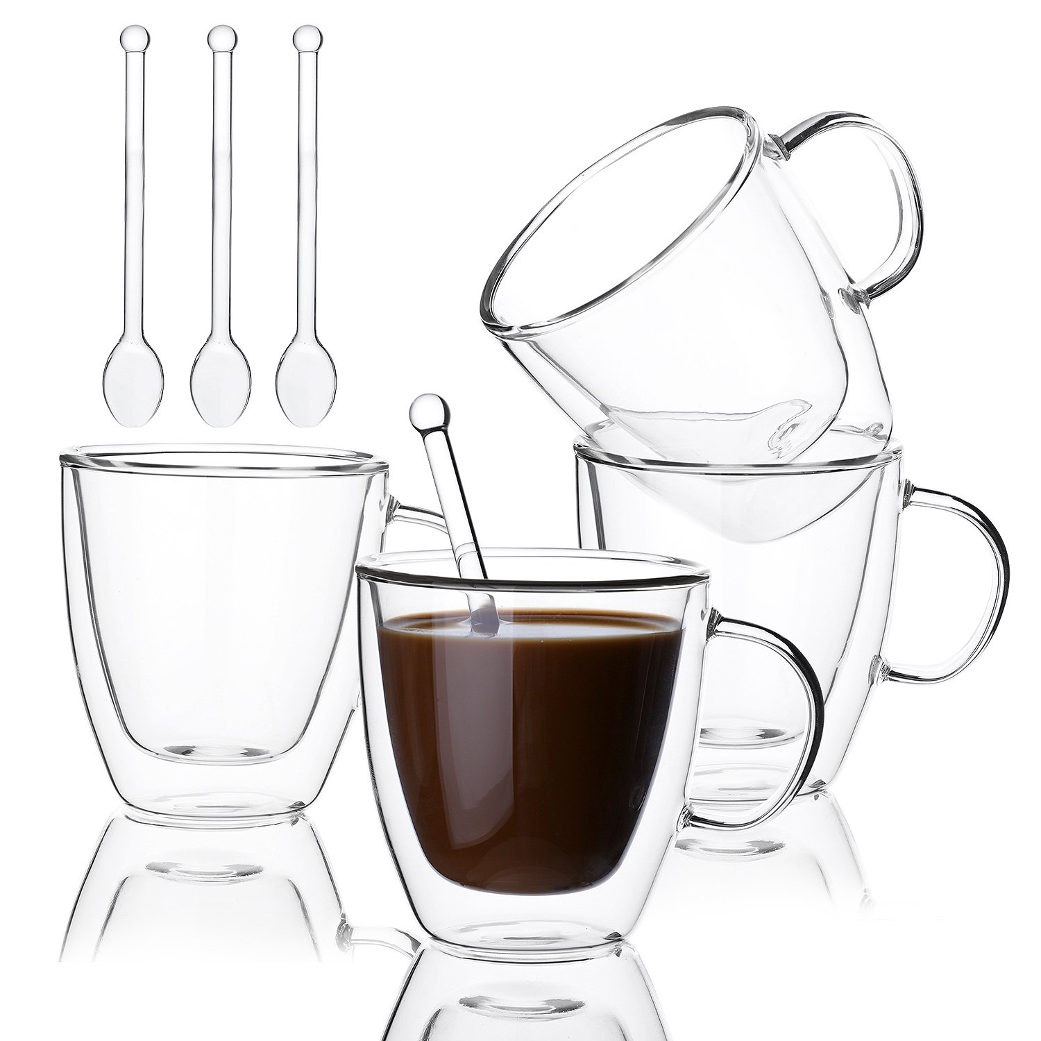 Insulated Coffee Cups Set Double Walled Glasses Coffee Mugs or Tea Cups for Espresso, Latte, Cappuccino - Set of 4 Cups and 4 Spoons, 5.4 Ounce / 160ml - Promotion price