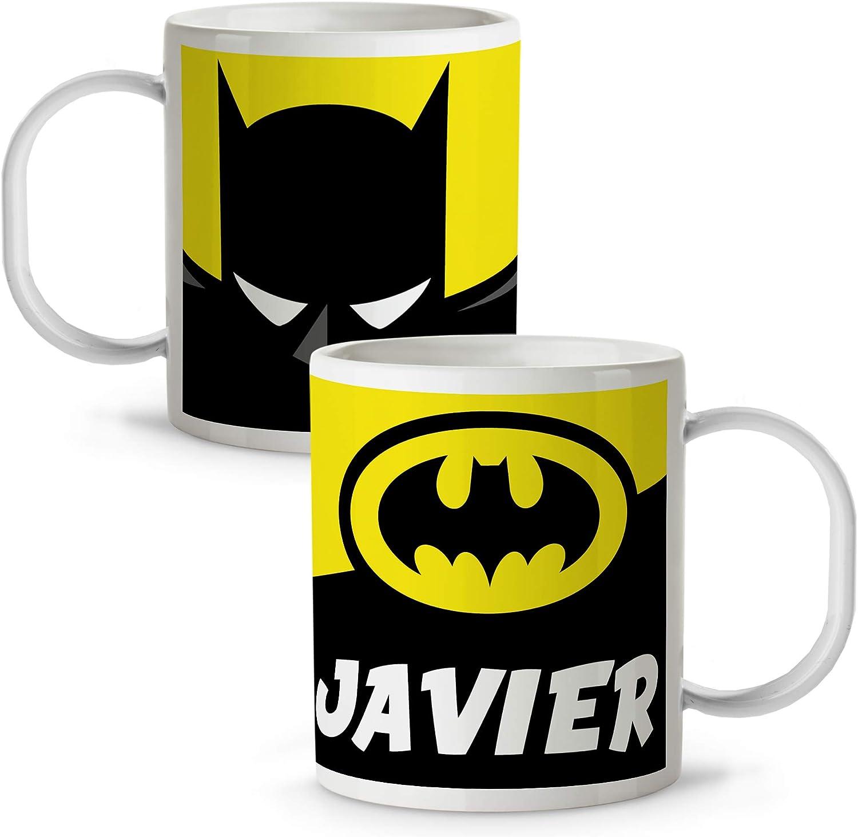 Taza Superhéroes Personalizada con Nombre | Plástico | Vuelta al Cole | Varios Diseños y Colores Interior | Batman