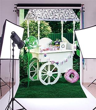 YongFoto 1x1,5m Fondo de Fotografia Spring Wood Candy Bar Pan Green Flowers Árboles Campo Hierba Ribbon Nature Feliz cumpleaños Telón de Fondo Fiesta Niños ...