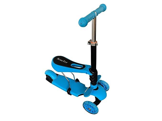 azul NUEVO MODELO 3 in 1 MULTIFUNCIONAL Lean A STEER Early etapa con REGULABLE ASIENTO Niños Niño Scooter + Parpadeante RUEDA