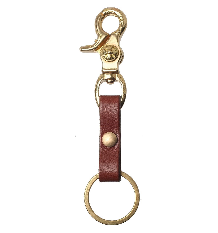 Ruth& Boaz Real Leather Handmade U Hook Key Holder Key Ring Key Chain (5.5/1.4 oz) (Retro Snap Hook BLACK)