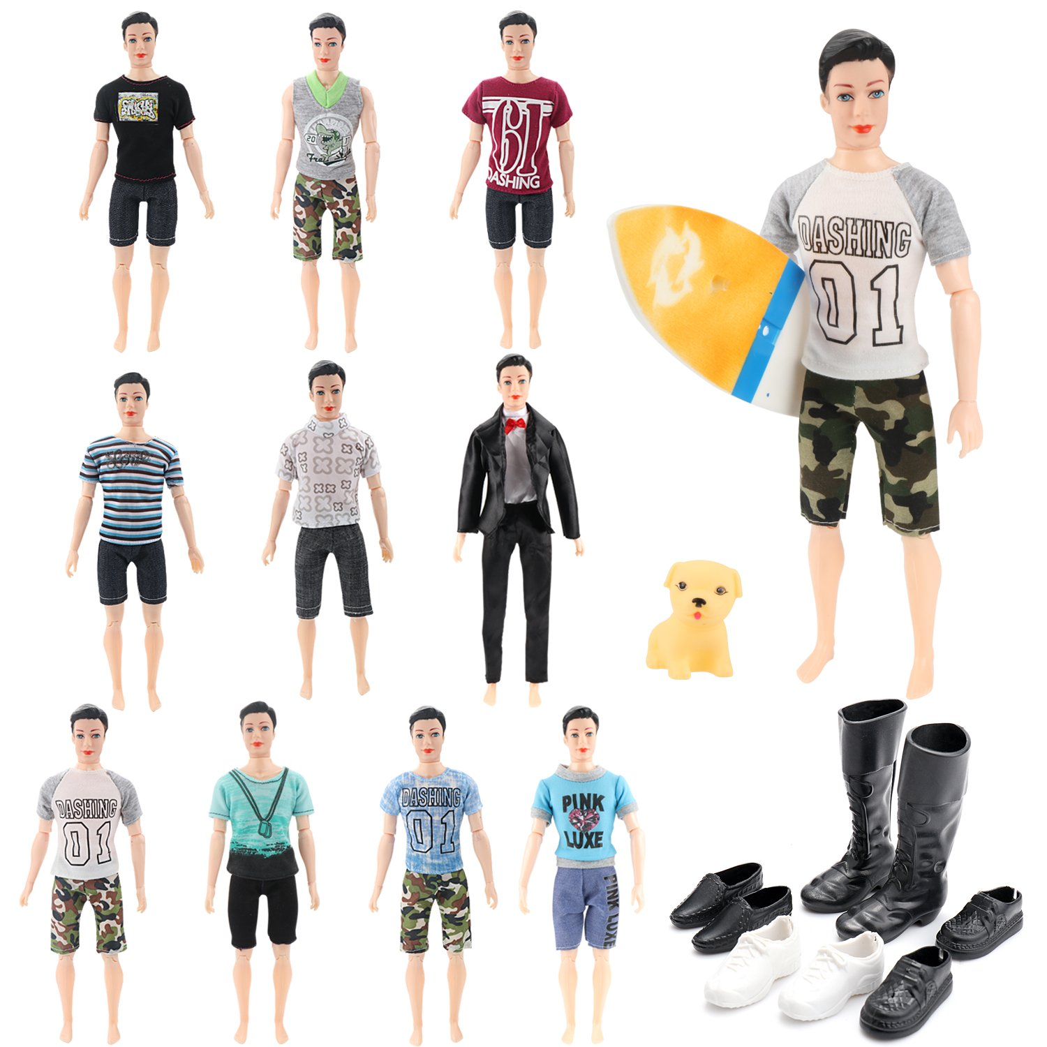 SOTOGO 30 Pcs Ken Clothes Set Include 10 Set Doll Casual/Career Wear Clothes Jacket Pants Outfits with Dog, surfboard and 4 Pairs of Shoes